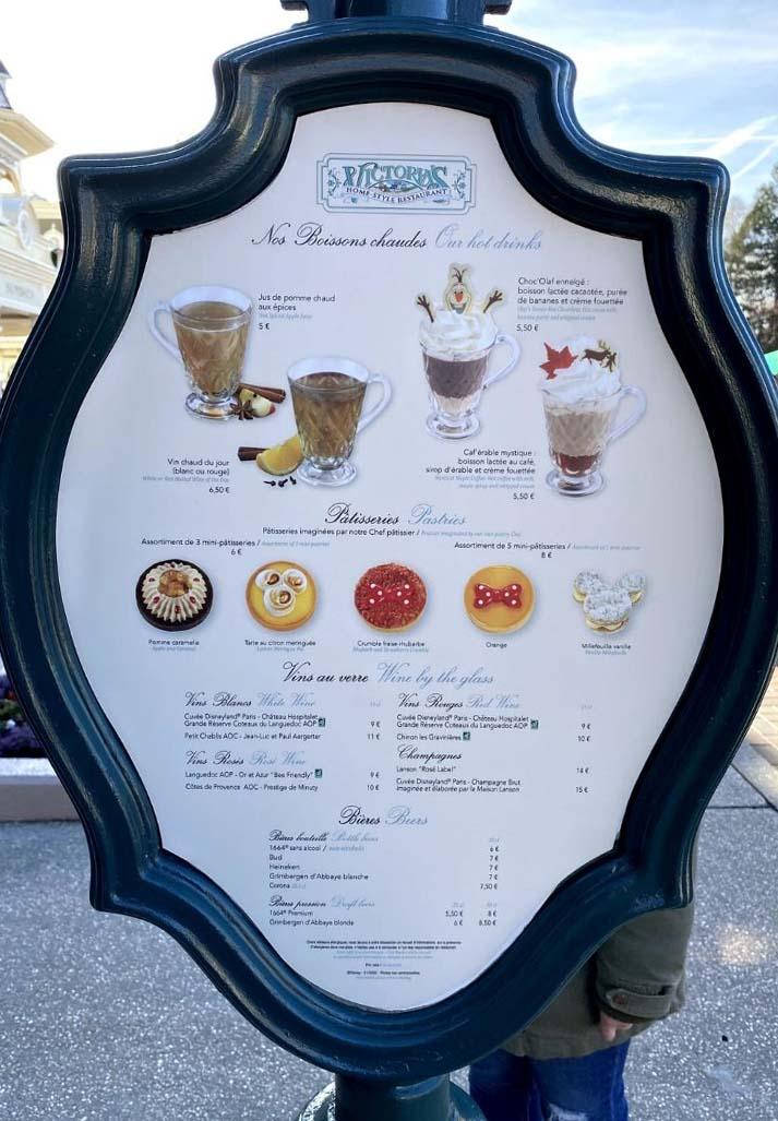 menu bevande Victoria's Home Style Restaurant